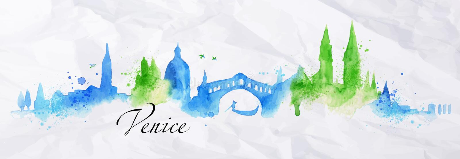 Aquarelle Venise de silhouette illustration stock