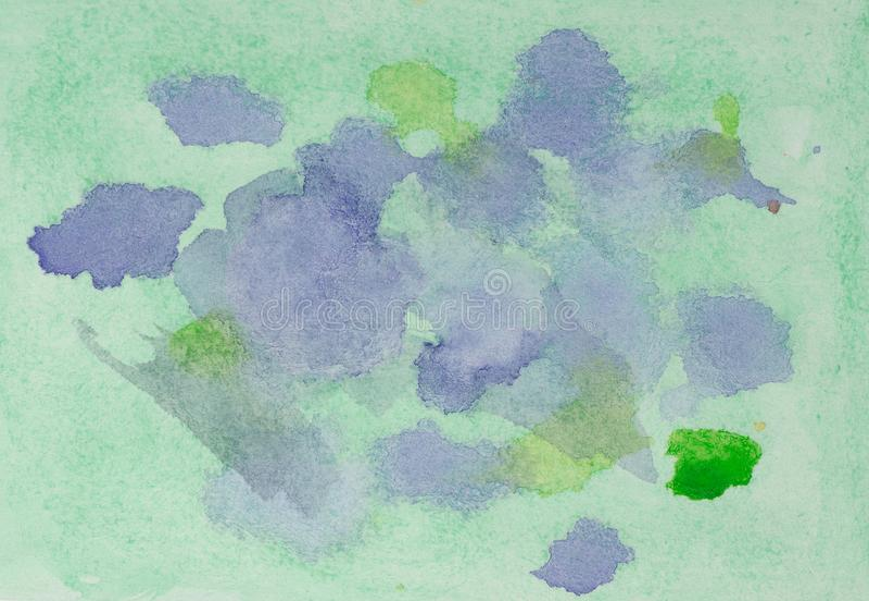 Aquarelle vert-bleu et pourpre, abstraite de fond photos stock