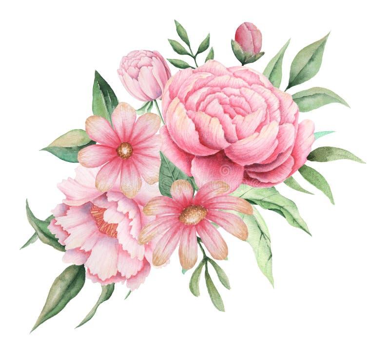 Aquarelleinladungsdesign mit Blumenstrauß von Blumen, handgemalte Blumenzusammensetzungen lokalisiert auf weißem Hintergrund stockfoto