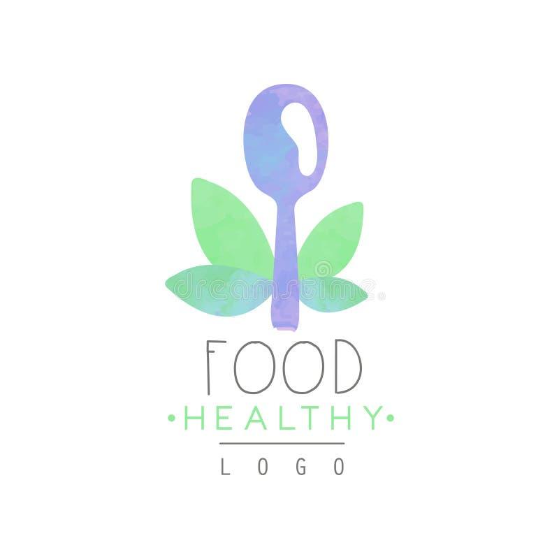 Aquarellemblem mit Löffel- und Grünblättern Buntes Vektordesign für Café oder Shop mit Bioprodukten wellness stock abbildung