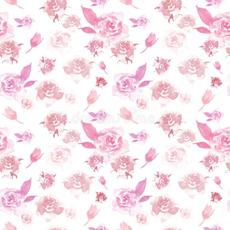 Aquarellempfindliches Blumenmuster mit rosa Rosen auf weißem Hintergrund Schöner botanischer Druck stock abbildung
