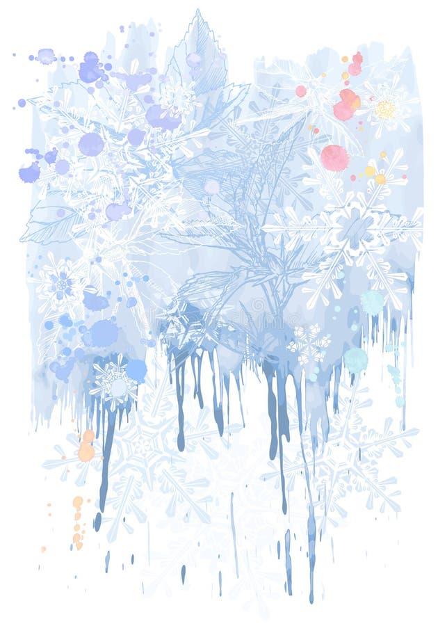 Aquarelles et flocons de neige bleus illustration libre de droits