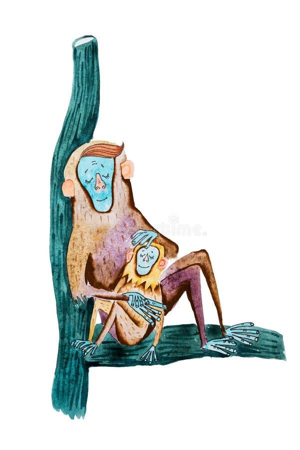 Aquarelleteckningen av moderapan och hon behandla som ett barn att sova tillsammans på en trädfilial vektor illustrationer