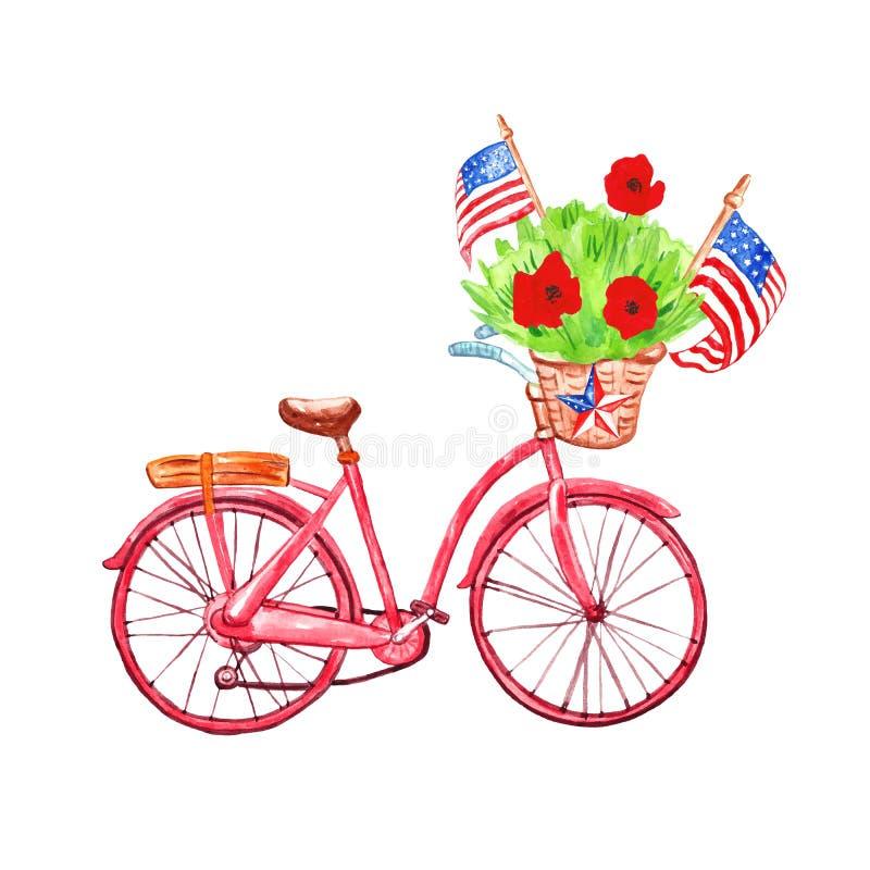 Aquarellfahrrad mit patriotischem Dekor f?r Volkstrauertagkarten 4. von Juli-Fahne mit US-Flaggen und -mohnblumen, lokalisiert au lizenzfreies stockfoto