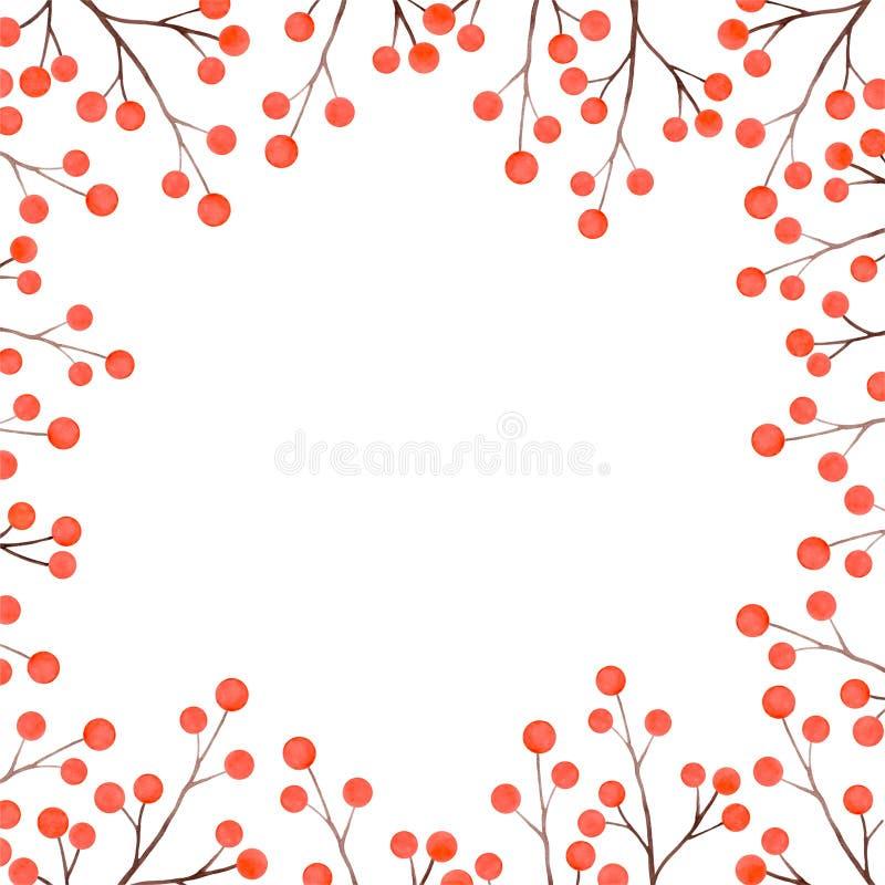 Aquarellfarbener Herbstrahmen aus Zweigen mit Rowan Beeren stockbild