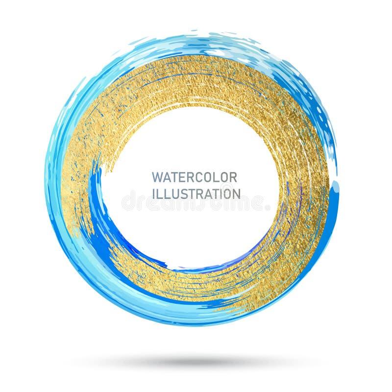Aquarellfarbkreisbeschaffenheit Runder Anschlag der Tinte auf weißem Hintergrund Vektor von Schmutzkreisflecken lizenzfreie abbildung