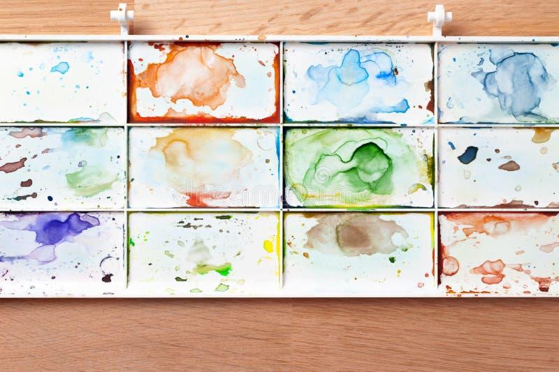 Aquarellfarbwanne stockbild