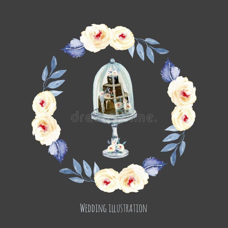 Aquarellfeiertagshochzeitstorte mit rosa und blauer Blumenkranzillustration, Hochzeitskartendesign lizenzfreie abbildung