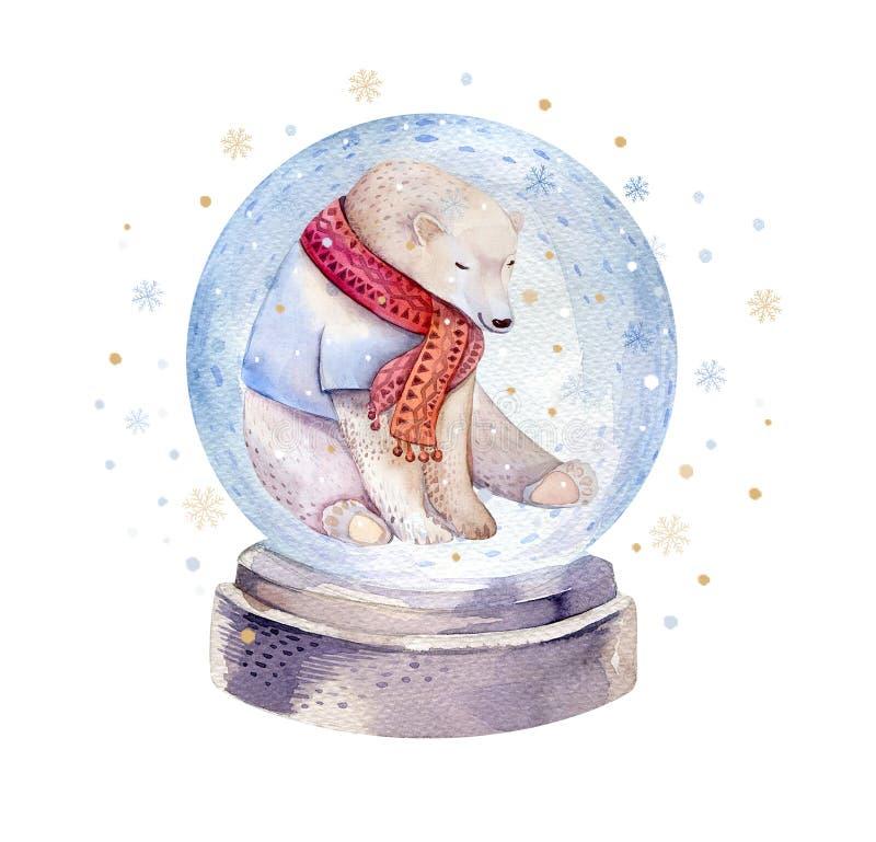 Aquarellfeiertagsillustration eines netten Eisbären, Winterdruck, die Illustration der Kinder, Porträt eines Bären stock abbildung