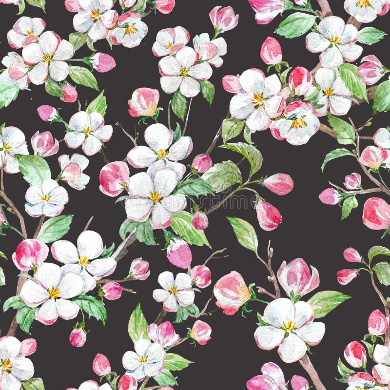 Aquarellfrühlings-Blumenmuster lizenzfreie abbildung