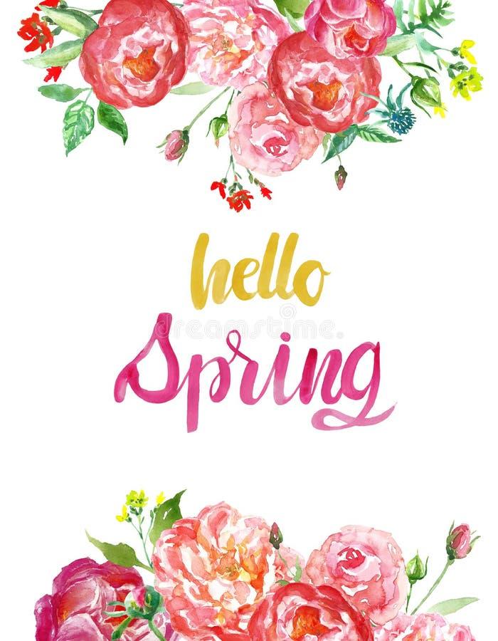 Aquarellfrühlings-saison-Blumenhintergrund mit bunten roten und rosa Blumen und hallo Frühlingsbürsten-Beschriftungszitat lizenzfreies stockfoto