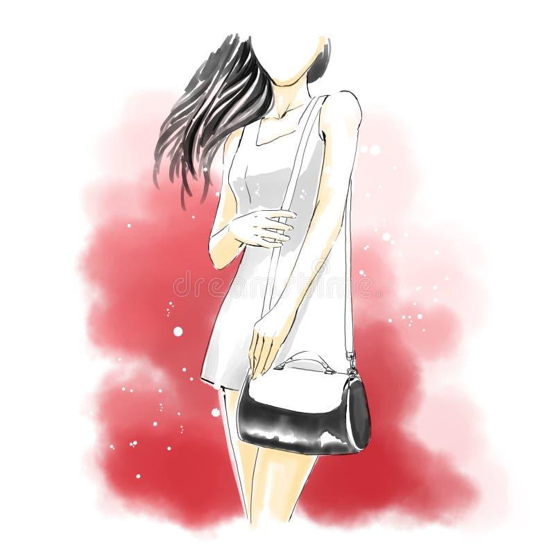 Aquarellfrau mit Handtasche, Modeillustration lizenzfreie abbildung