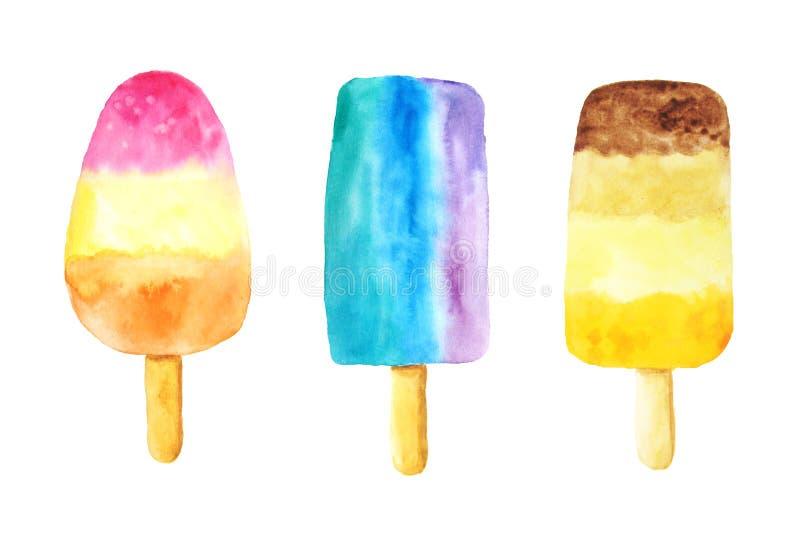 Aquarellfrucht-Eiscremeillustration lizenzfreie abbildung