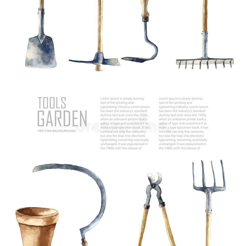 Aquarellgarten-Werkzeugsatz vektor abbildung