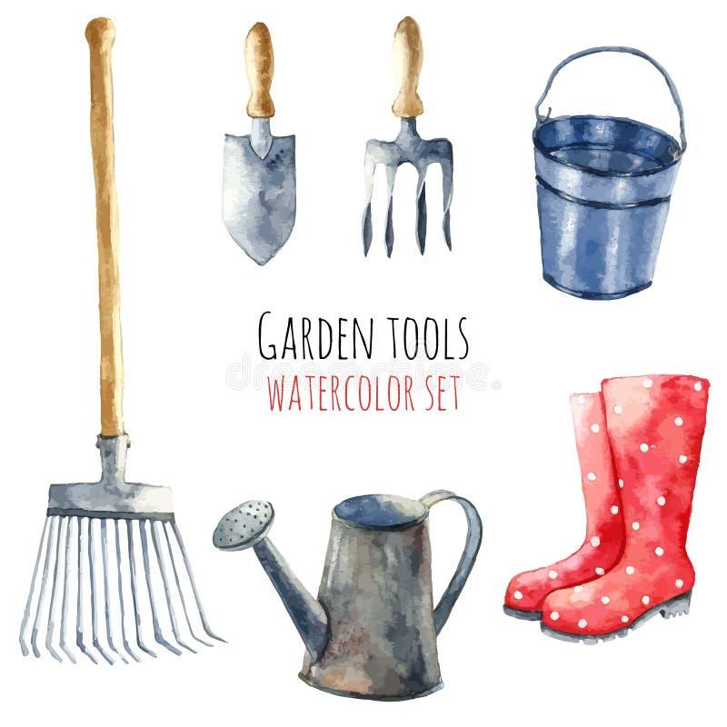 Aquarellgartenwerkzeuge stock abbildung
