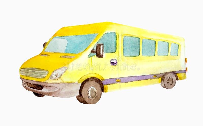 Aquarellgelber Minibus oder -taxi lokalisiert auf weißem Hintergrund für Postkarten, Visitenkarten lizenzfreie abbildung