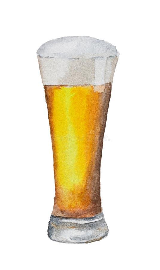 Aquarellglas Bier lokalisiert auf Weiß stockbilder