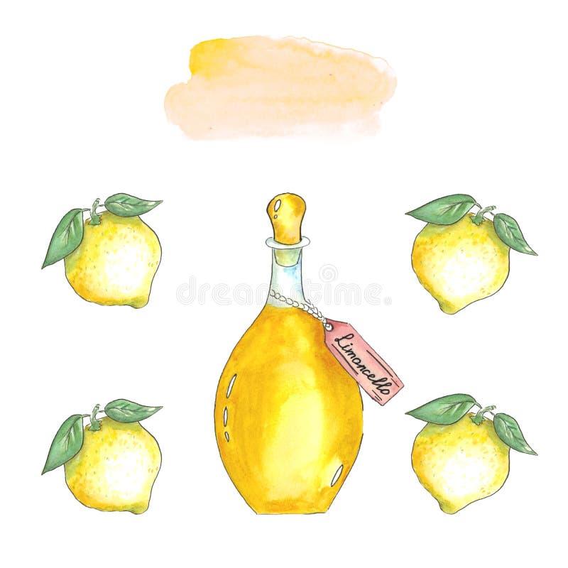 Aquarellglasflasche mit gelbem limoncello und Zitronen mit Blättern lizenzfreie stockbilder