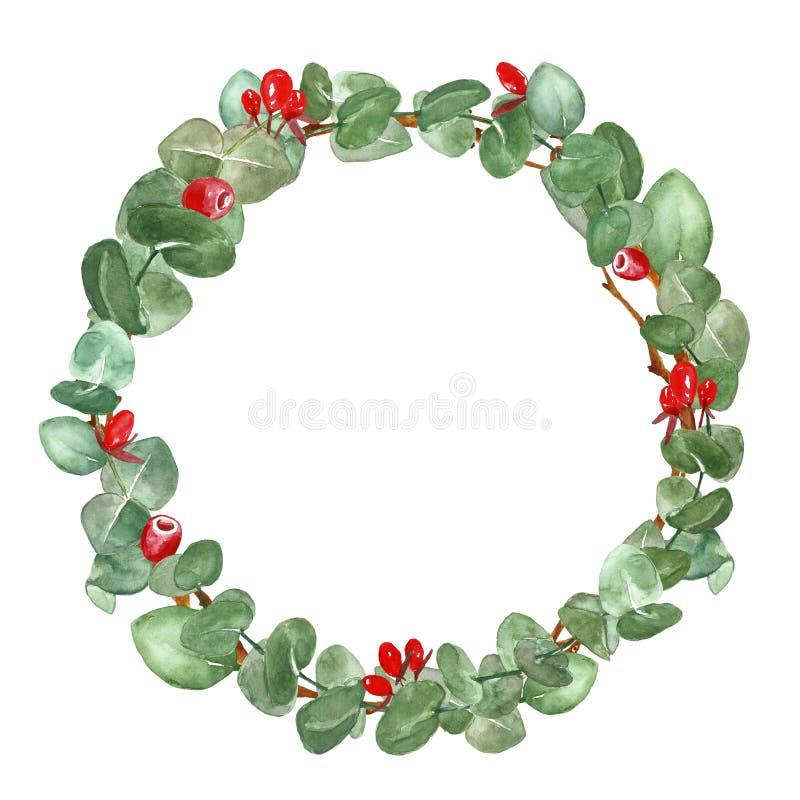 Aquarellgrün-Blumenkranz mit Eukalyptusblättern und -niederlassungen Weihnachtsdekorative Grenze auf weißem Hintergrund stockfoto