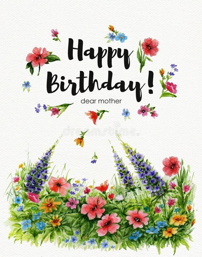 Aquarellgrußkarte liebe Großmutter alles Gute zum Geburtstag mit Blumenrasen und Beschriftung im Blumenrahmen lizenzfreie abbildung