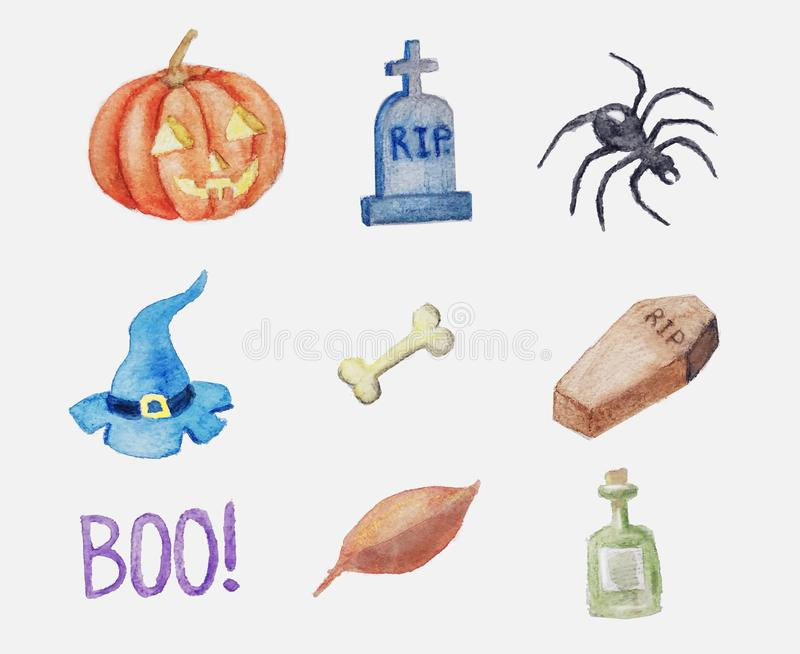 Aquarellhalloween-Satz Hand gezeichnete Feiertags-Illustrationen stockbilder