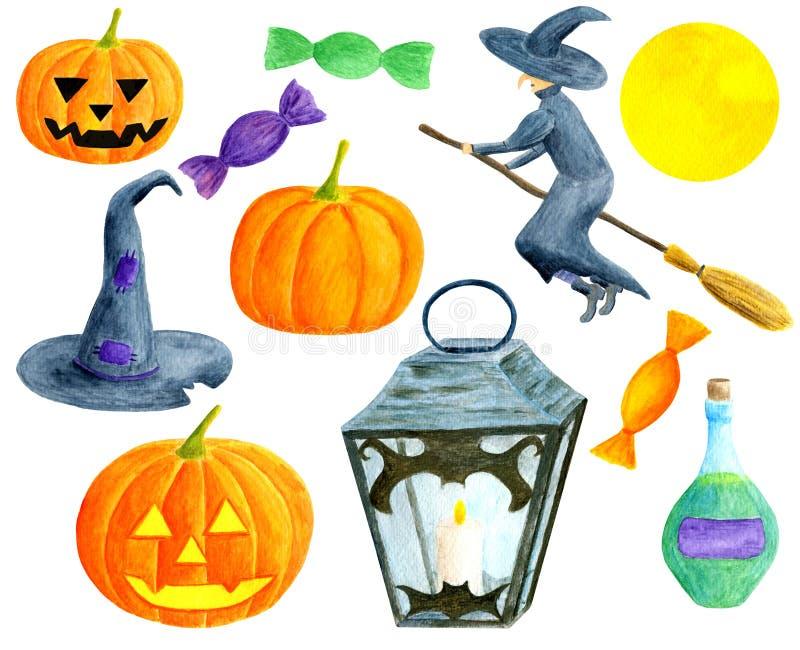 Aquarellhalloween-Satz Handgemalte Kürbise mit gebogenen Gesichtern, Hexe auf Besenstiel, Flasche Gift, Laterne mit stock abbildung