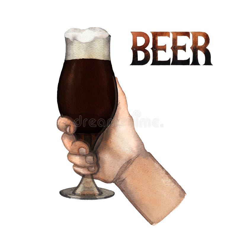 Aquarellhand mit Glas Bier lizenzfreie abbildung
