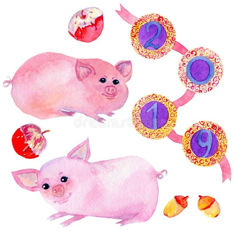 Aquarellhandgezogener Satz mit zwei netten Schweinzeichentrickfilm-figuren stock abbildung