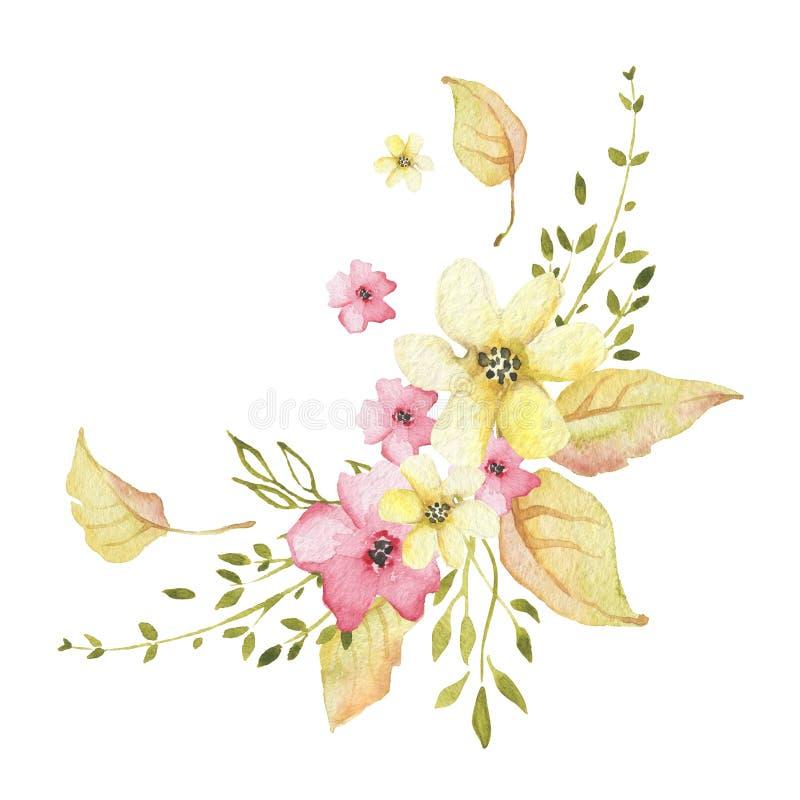 Aquarellherbstblumenstrauß mit Blumen und goldenen Blättern stock abbildung