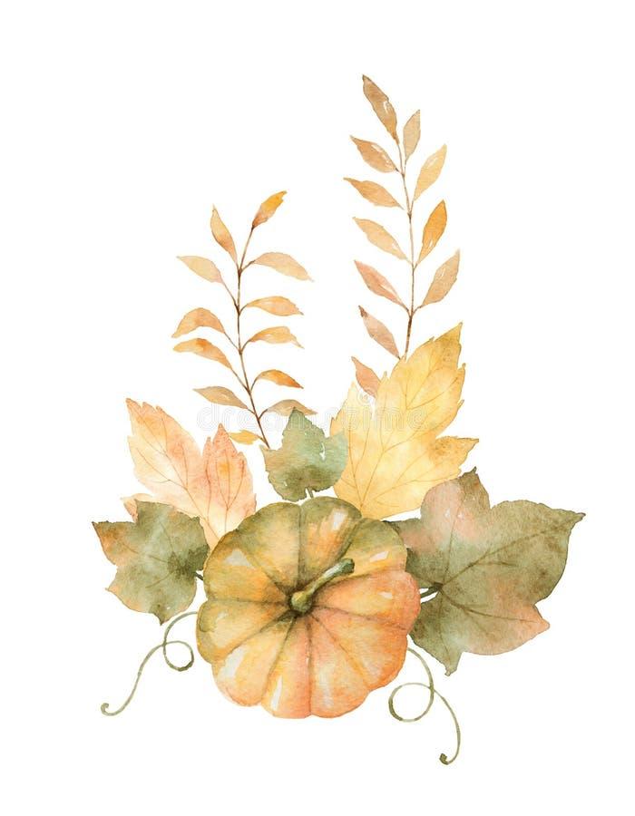 Aquarellherbstblumenstrauß von den Blättern, von Niederlassungen und von Kürbisen lokalisiert auf weißem Hintergrund lizenzfreie abbildung