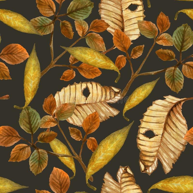 Aquarellherbstmuster mit gelb gefärbten Blättern stockfoto