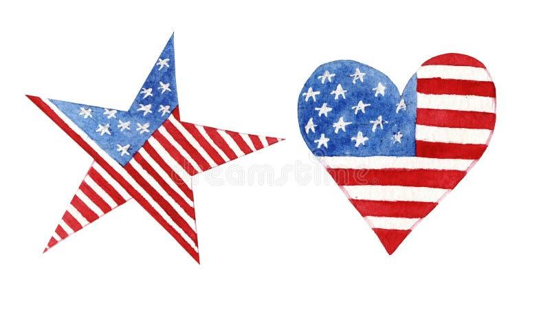 Aquarellherz und -stern mit der amerikanischen Flagge lokalisiert vektor abbildung