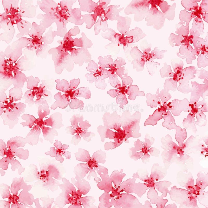 Aquarellhintergrund von rosa Blumen lizenzfreie abbildung