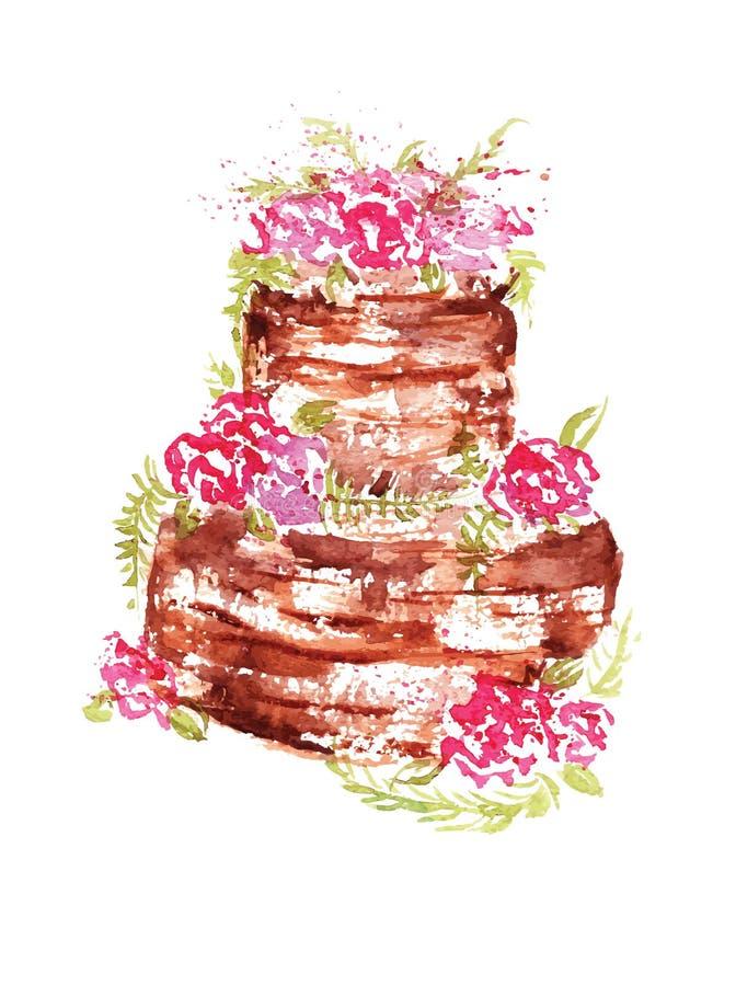Aquarellhochzeits-Schokoladenkuchen mit rosa Blumen und Blättern auf einem weißen Hintergrund Auch im corel abgehobenen Betrag lizenzfreie abbildung