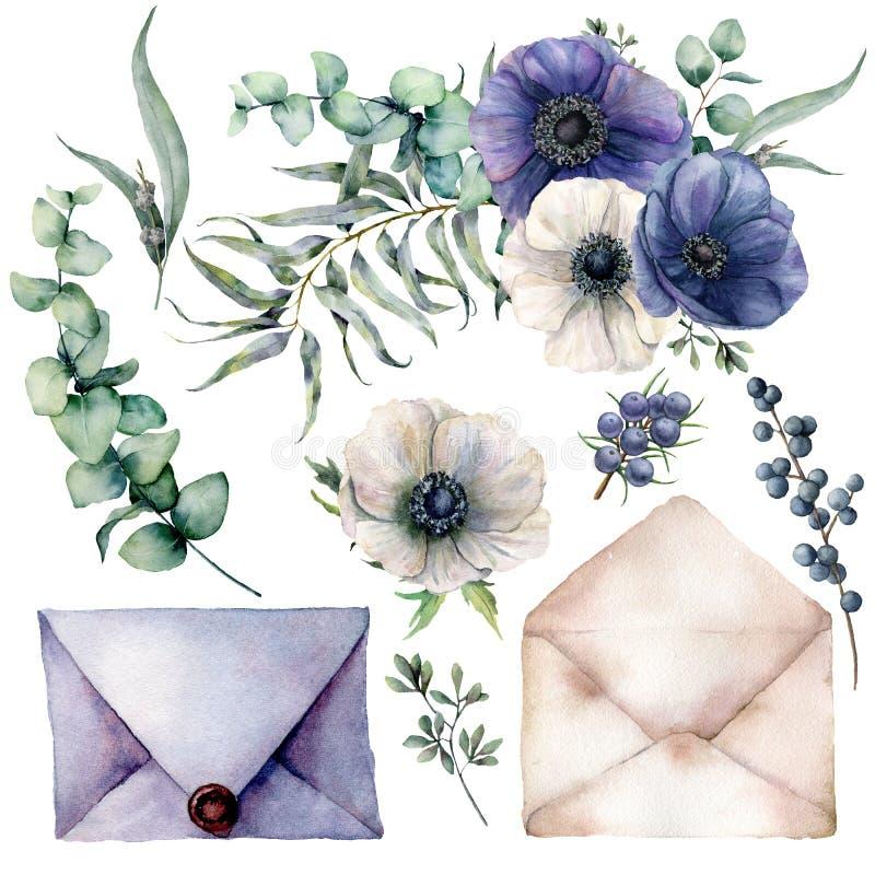 Aquarellhochzeitsblau Elemente eines weiße Dekors Handgezogene Anemonen mit Eukalyptusblättern und Niederlassungen, Beeren und stock abbildung
