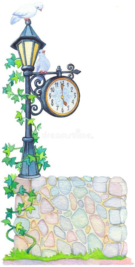 Aquarellillustration. Antike Laterne mit einer Uhr lizenzfreie abbildung