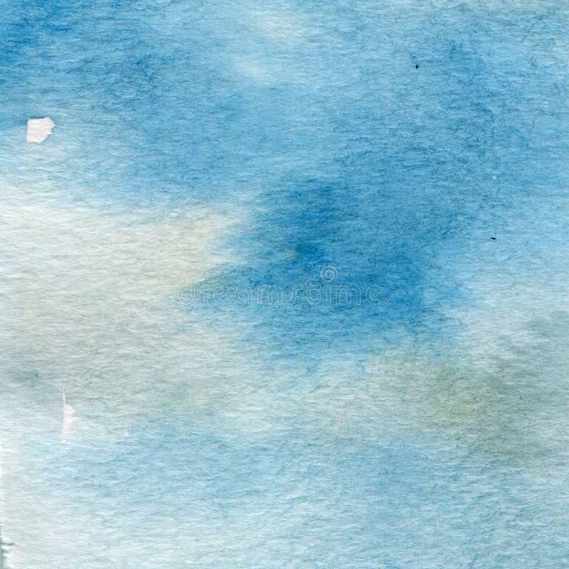 Aquarellillustration, Beschaffenheit Übergang, Infusion der Farbe, verbreitend blau stock abbildung