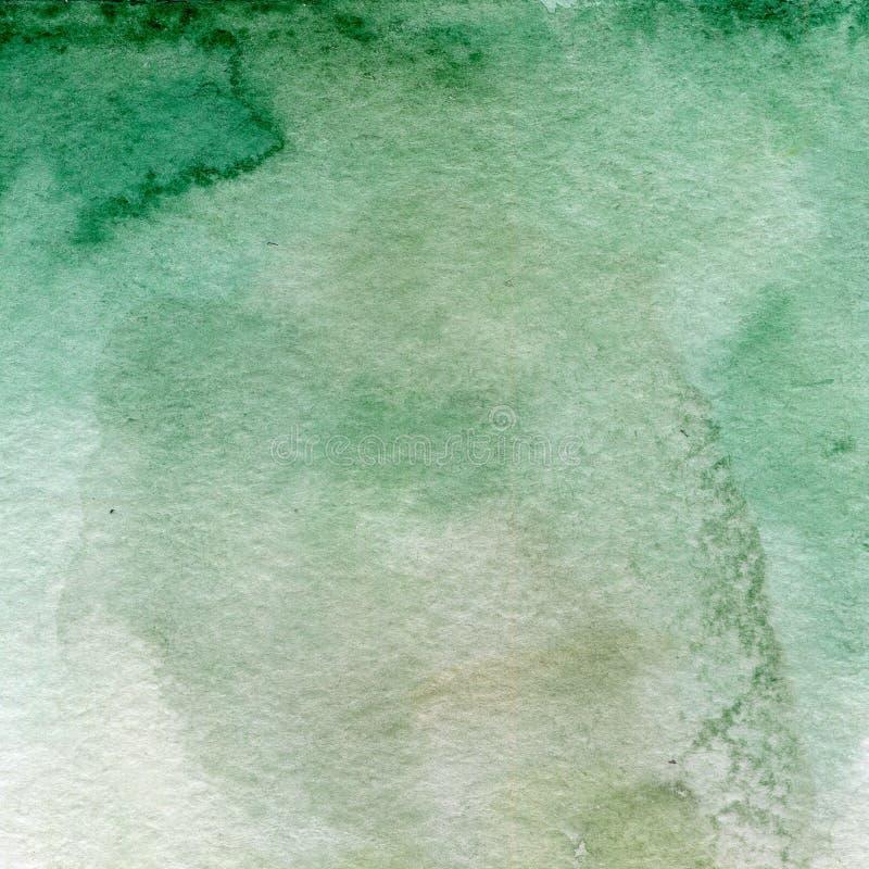 Aquarellillustration, Beschaffenheit Übergang, Infusion der Farbe, verbreitend Ockerhaltig, grün, grau stock abbildung