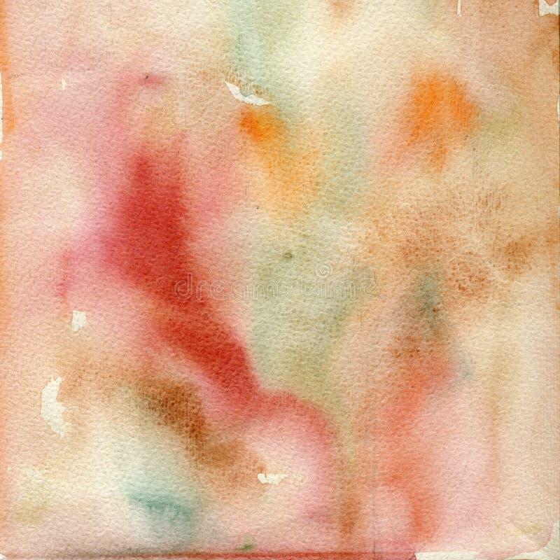 Aquarellillustration, Beschaffenheit Übergang, Infusion der Farbe, verbreitend Rot, ockerhaltig stock abbildung