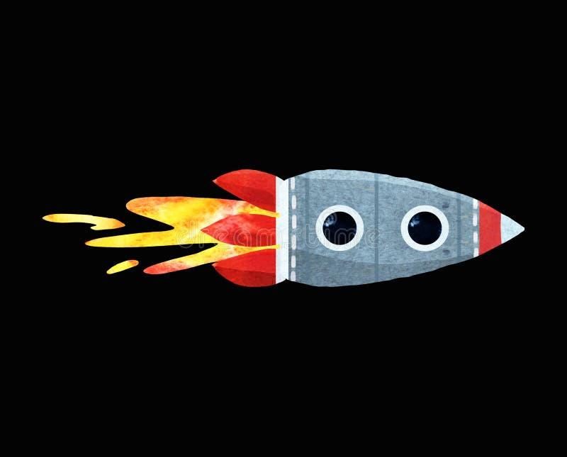Aquarellillustration der Kinder einer Rakete lizenzfreie abbildung