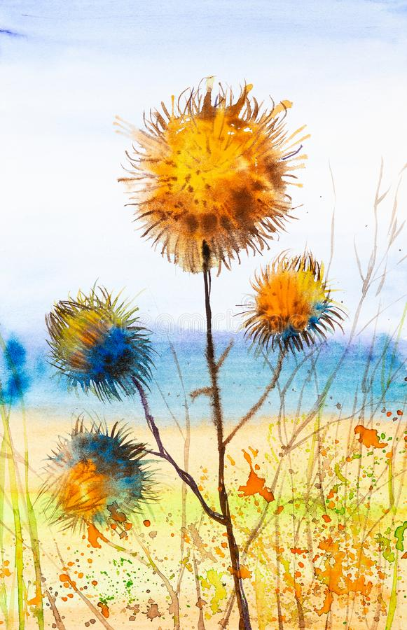 Aquarellillustration der Klettennahaufnahme in der nat?rlichen Umwelt auf dem Gebiet stockbilder