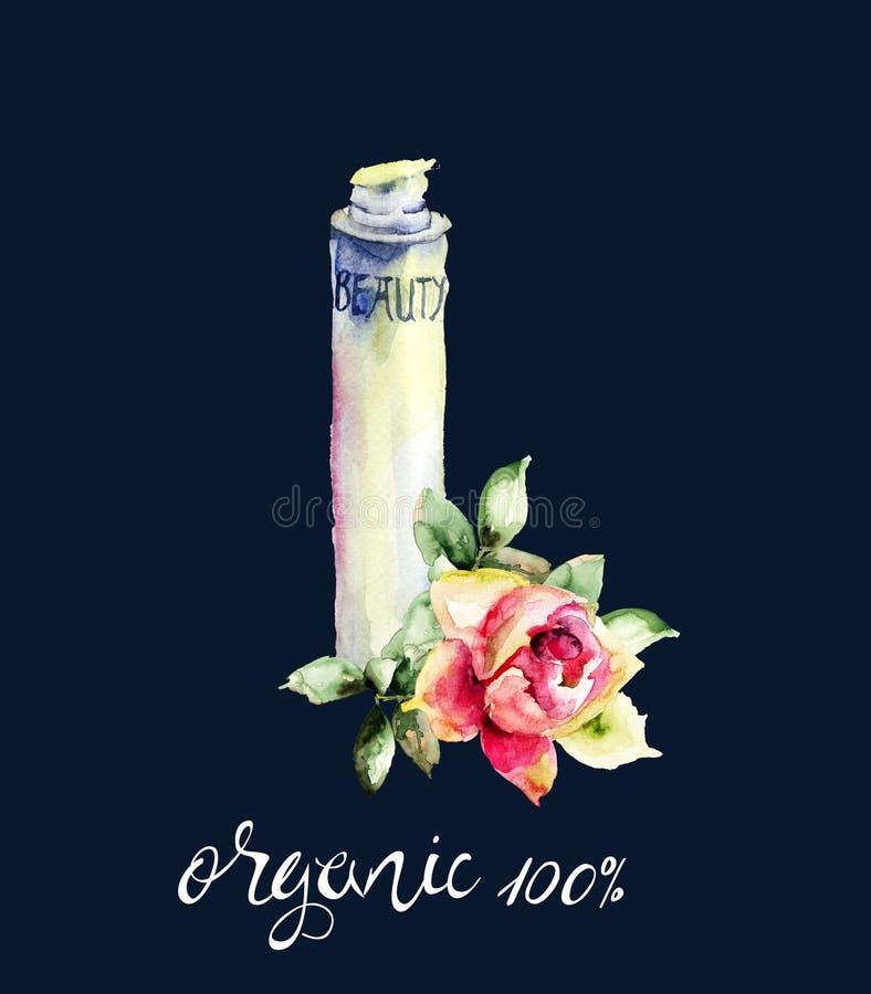 Aquarellillustration des kosmetischen Behälters stockbilder