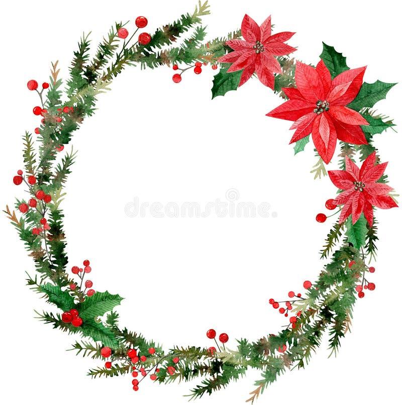 Aquarellillustration des Kranzes der frohen Weihnachten, der roten Beeren und der grünen Baumaste, Poinsettias lizenzfreie abbildung
