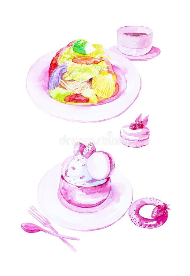 Aquarellillustration des Satzes Salats von Kammmuscheln, von NachtischEiscreme, von Bagel mit Erdbeeren und von Makronenkuchen ei vektor abbildung