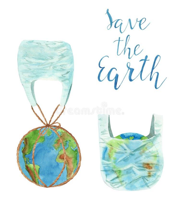 Aquarellillustration, die kein Plastikkonzept einstellte, Erde in der Plastiktasche lizenzfreies stockfoto
