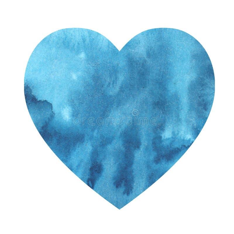 Aquarellillustration eines Ozean-Seeherzens der Steigung blauen stock abbildung