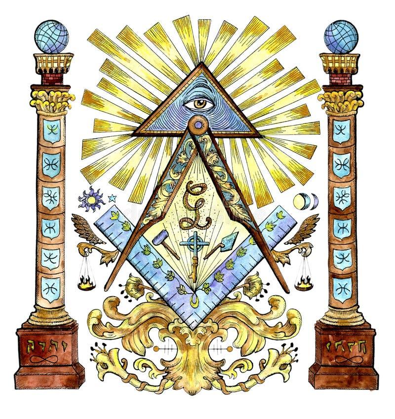 Aquarellillustration mit Freimaurer und mysteriösen Symbolen lokalisiert auf Weiß lizenzfreie abbildung