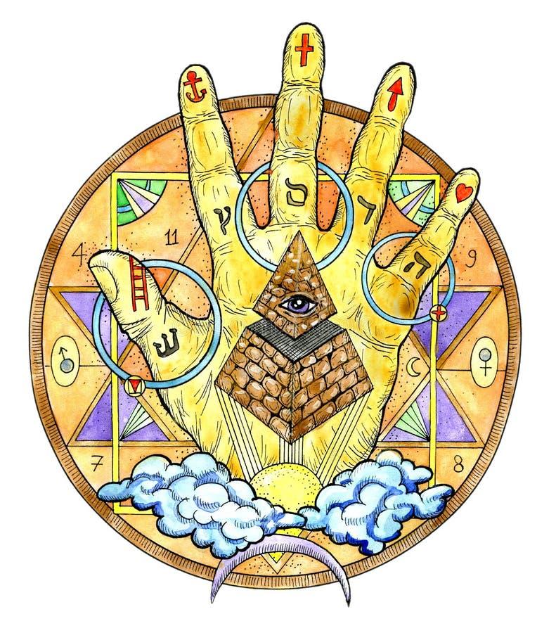 Aquarellillustration mit Handpalme und mysteriösen Symbolen lokalisiert auf whiteSeamless Hintergrund mit Maurer und mystischen S lizenzfreie abbildung
