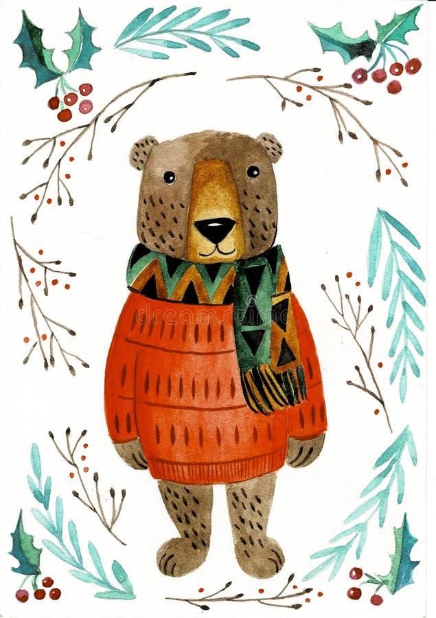 Aquarellillustration mit Teddybären Nette Handgezogenes Tier, lokalisiert auf Weiß vektor abbildung