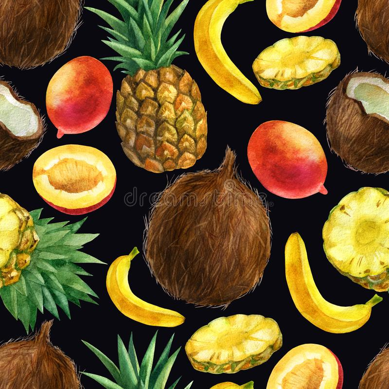Aquarellillustration, Muster Tropische Früchte, Ananas, Kokosnuss, Banane, Mango auf einem schwarzen Hintergrund vektor abbildung